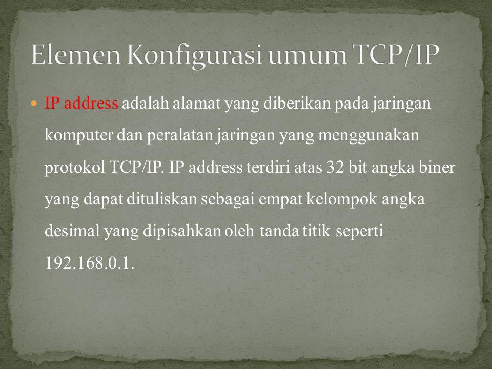  IP address adalah alamat yang diberikan pada jaringan komputer dan peralatan jaringan yang menggunakan protokol TCP/IP. IP address terdiri atas 32 b