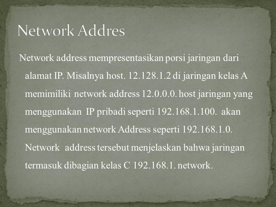 Network address mempresentasikan porsi jaringan dari alamat IP. Misalnya host. 12.128.1.2 di jaringan kelas A memimiliki network address 12.0.0.0. hos