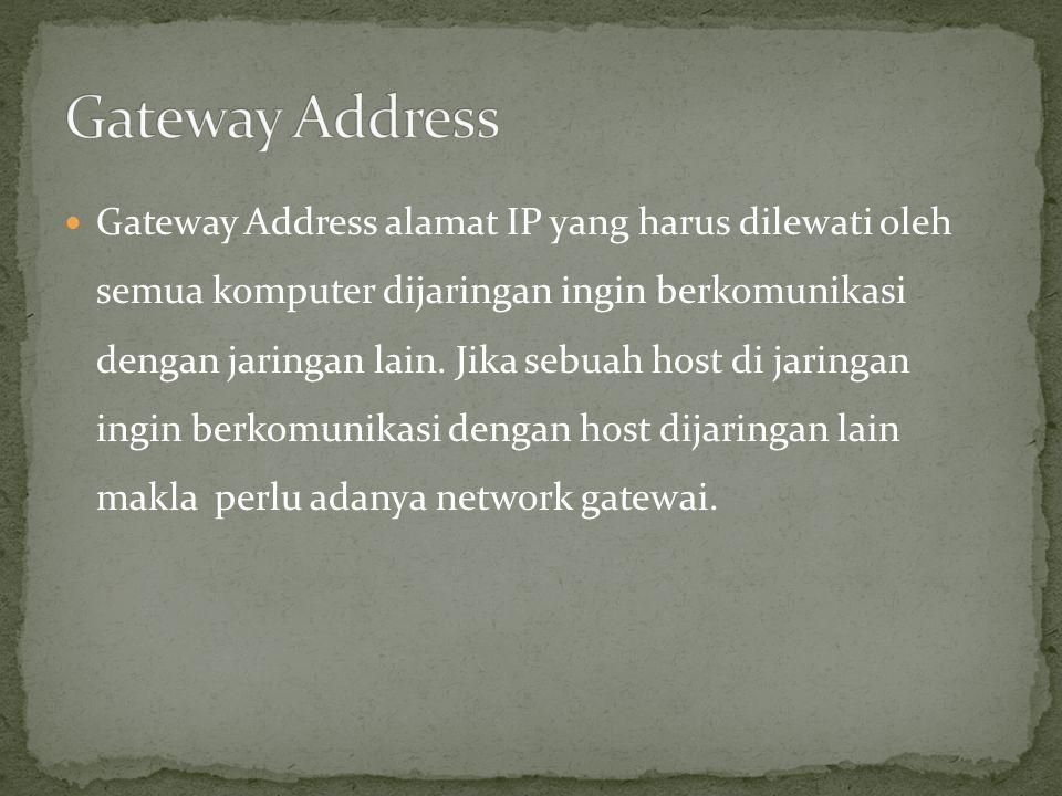  Gateway Address alamat IP yang harus dilewati oleh semua komputer dijaringan ingin berkomunikasi dengan jaringan lain. Jika sebuah host di jaringan