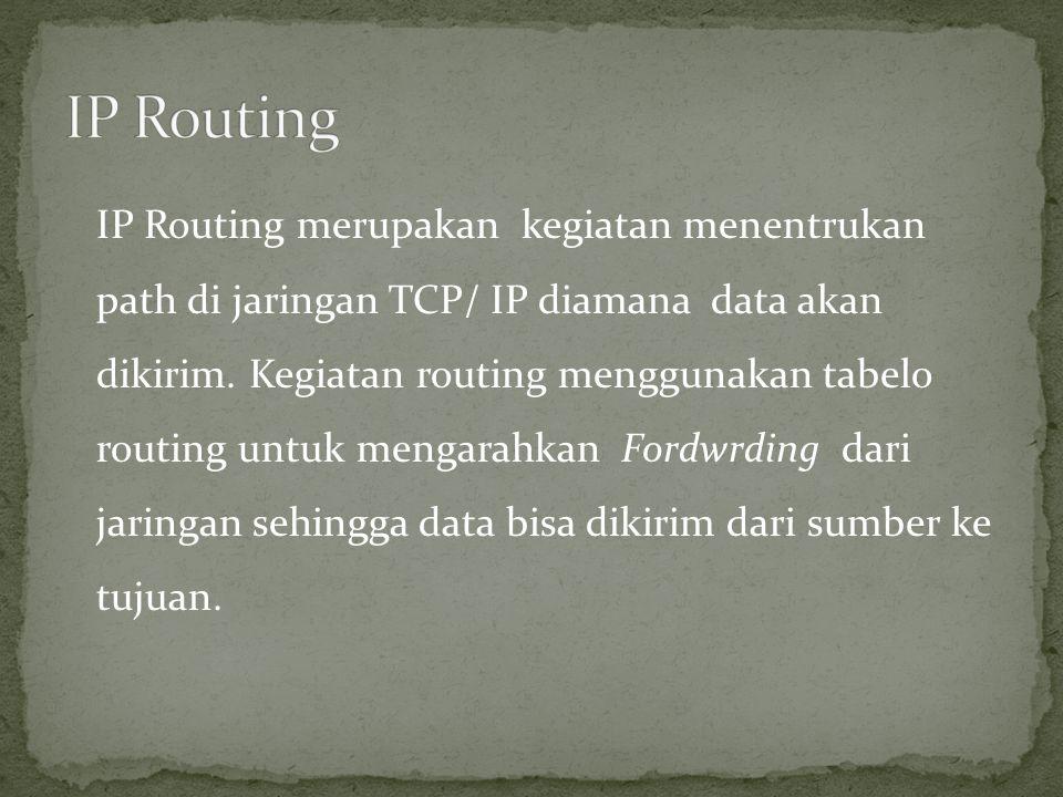 IP Routing merupakan kegiatan menentrukan path di jaringan TCP/ IP diamana data akan dikirim. Kegiatan routing menggunakan tabelo routing untuk mengar