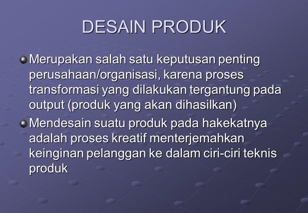 DESAIN PRODUK Fungsi desain produk :  Menghasilkan produk yang sesuai dengan kebutuhan/keinginan konsumen  Menghindari kegagalan selama proses produ