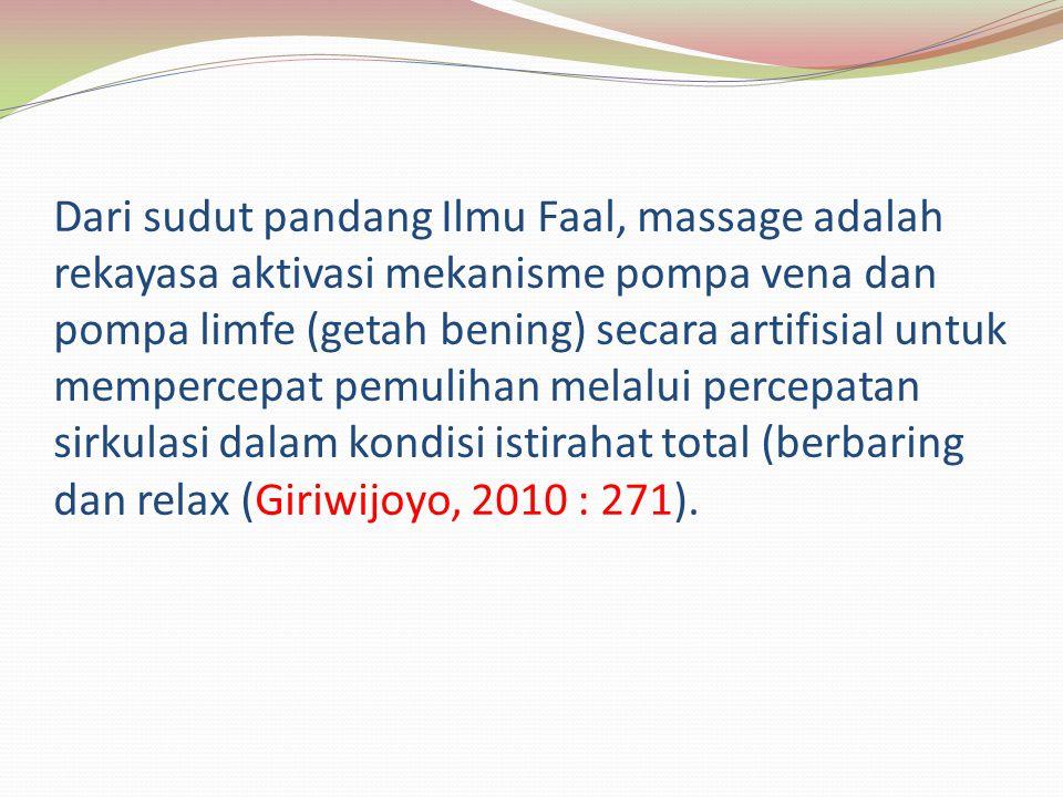 Dari sudut pandang Ilmu Faal, massage adalah rekayasa aktivasi mekanisme pompa vena dan pompa limfe (getah bening) secara artifisial untuk mempercepat