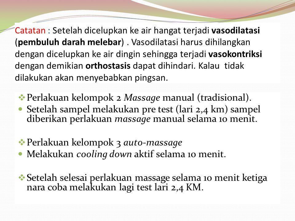 Catatan : Setelah dicelupkan ke air hangat terjadi vasodilatasi (pembuluh darah melebar). Vasodilatasi harus dihilangkan dengan dicelupkan ke air ding