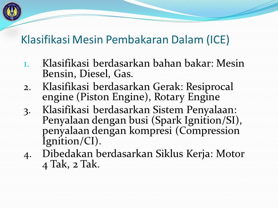 Klasifikasi Mesin Pembakaran Dalam (ICE) 1. Klasifikasi berdasarkan bahan bakar: Mesin Bensin, Diesel, Gas. 2. Klasifikasi berdasarkan Gerak: Resiproc