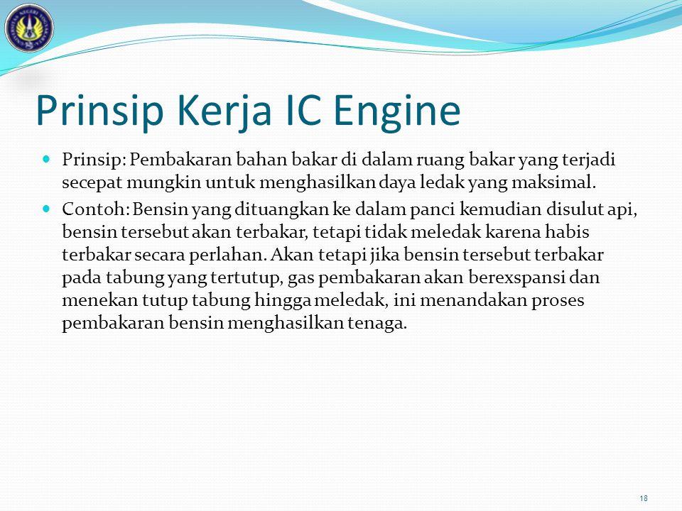 Prinsip Kerja IC Engine  Prinsip: Pembakaran bahan bakar di dalam ruang bakar yang terjadi secepat mungkin untuk menghasilkan daya ledak yang maksima