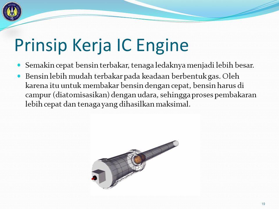 Prinsip Kerja IC Engine  Semakin cepat bensin terbakar, tenaga ledaknya menjadi lebih besar.  Bensin lebih mudah terbakar pada keadaan berbentuk gas