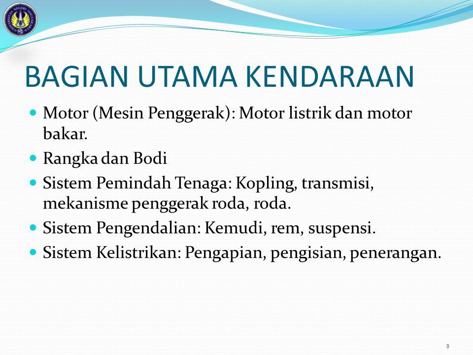BAGIAN UTAMA KENDARAAN  Motor (Mesin Penggerak): Motor listrik dan motor bakar.  Rangka dan Bodi  Sistem Pemindah Tenaga: Kopling, transmisi, mekan