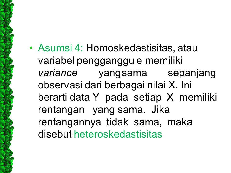 •Asumsi 4: Homoskedastisitas, atau variabel pengganggu e memiliki varianceyangsamasepanjang observasi dari berbagai nilai X. Ini berarti data Y pada s