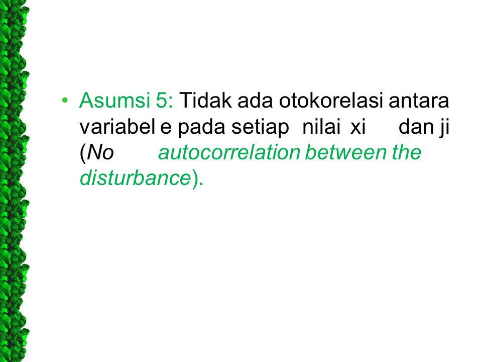 •Asumsi 5: Tidak ada otokorelasi antara variabel e pada setiapnilaixidan ji (Noautocorrelation between the disturbance).