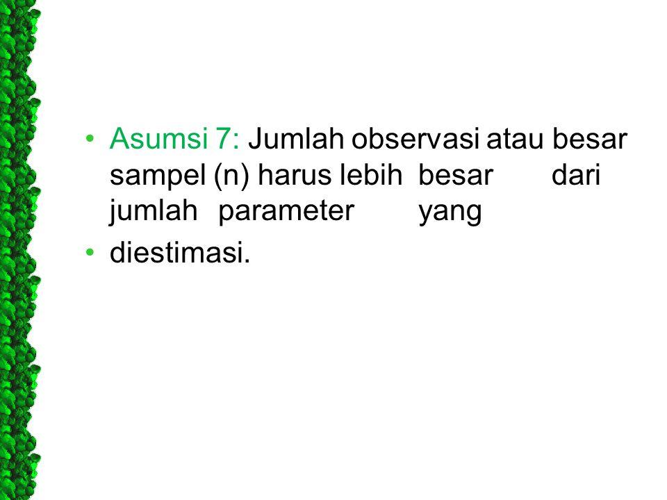 •Asumsi 7: Jumlah observasi atau besar sampel (n) harus lebihbesardari jumlahparameteryang •diestimasi.