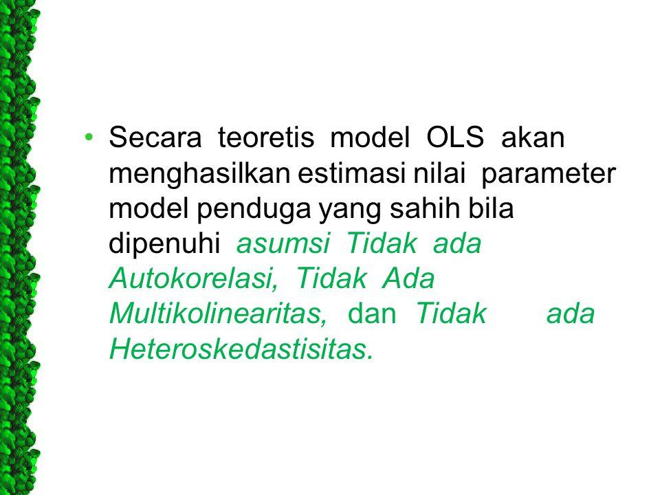 •Secara teoretis model OLS akan menghasilkan estimasi nilai parameter model penduga yang sahih bila dipenuhi asumsi Tidak ada Autokorelasi, Tidak Ada
