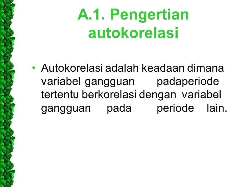 A.1. Pengertian autokorelasi •Autokorelasi adalah keadaan dimana variabel gangguanpadaperiode tertentuberkorelasi denganvariabel gangguanpada periodel