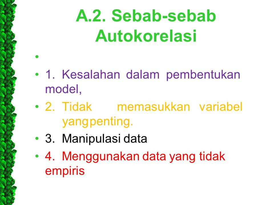 A.2. Sebab-sebab Autokorelasi • •1. Kesalahan dalam pembentukan model, •2. Tidakmemasukkanvariabel yangpenting. •3. Manipulasi data •4. Menggunakan da