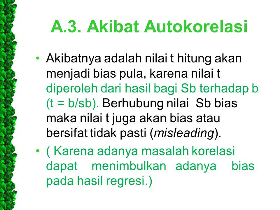 A.3. Akibat Autokorelasi •Akibatnya adalah nilai t hitung akan menjadi bias pula, karena nilai t diperoleh dari hasil bagi Sb terhadap b (t = b/sb). B