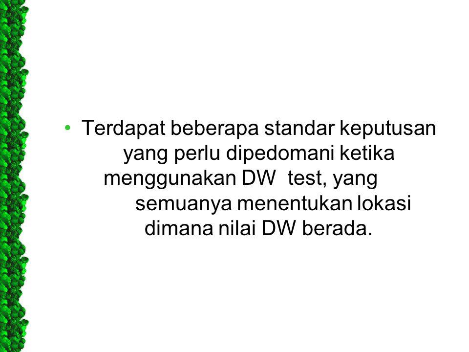 •Terdapat beberapa standar keputusan yang perlu dipedomani ketika menggunakan DW test, yang semuanya menentukan lokasi dimana nilai DW berada.