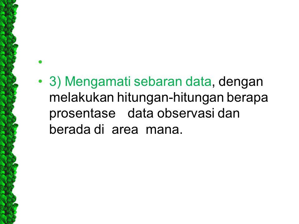 • •3) Mengamati sebaran data, dengan melakukan hitungan-hitungan berapa prosentasedata observasi dan berada di area mana.