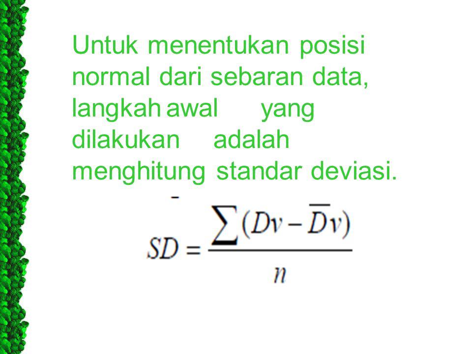 Untuk menentukan posisi normal dari sebaran data, langkahawalyang dilakukanadalah menghitung standar deviasi.