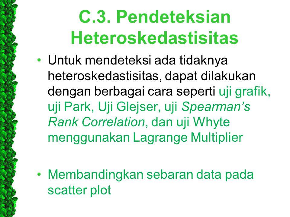 C.3. Pendeteksian Heteroskedastisitas •Untuk mendeteksi ada tidaknya heteroskedastisitas, dapat dilakukan dengan berbagai cara seperti uji grafik, uji