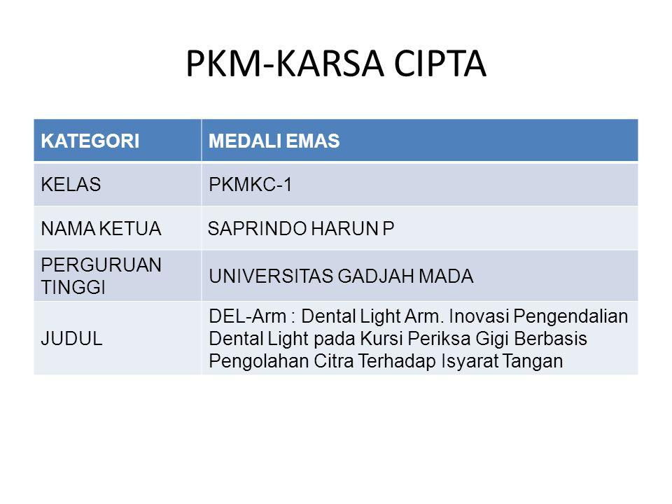 PKM-KARSA CIPTA KATEGORIMEDALI EMAS KELASPKMKC-1 NAMA KETUA SAPRINDO HARUN P PERGURUAN TINGGI UNIVERSITAS GADJAH MADA JUDUL DEL-Arm : Dental Light Arm