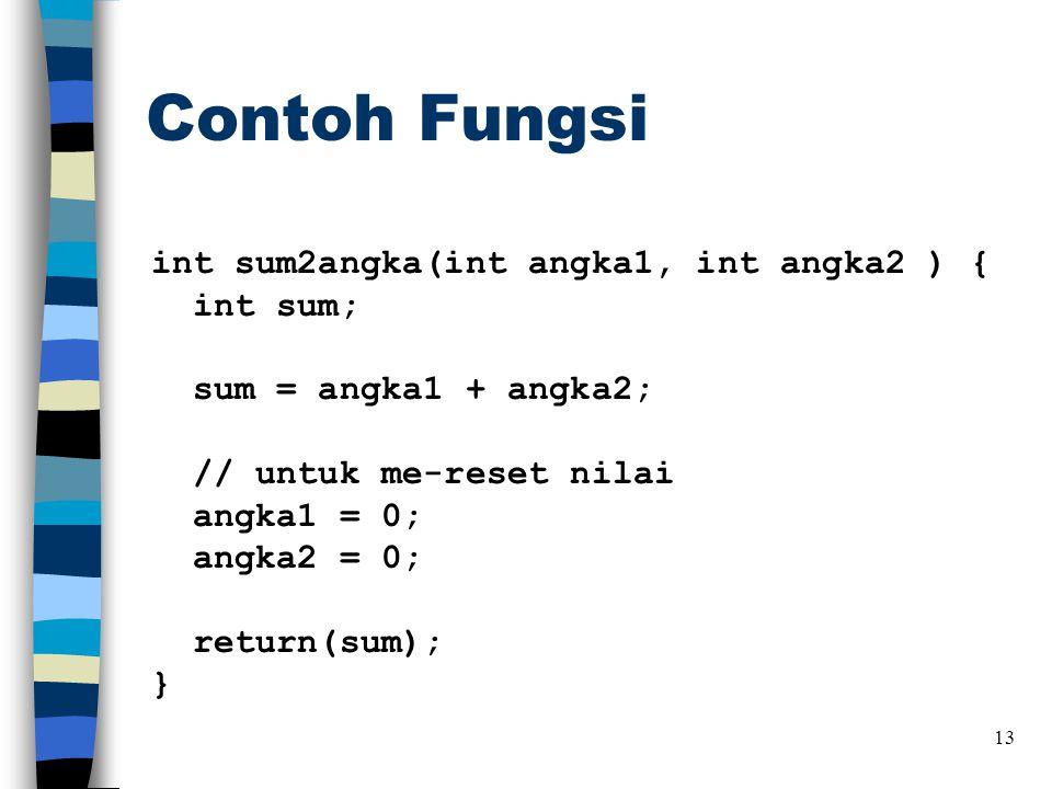Contoh Fungsi int sum2angka(int angka1, int angka2 ) { int sum; sum = angka1 + angka2; // untuk me-reset nilai angka1 = 0; angka2 = 0; return(sum); } 13