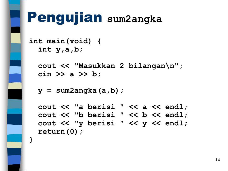 Pengujian sum2angka int main(void) { int y,a,b; cout << Masukkan 2 bilangan\n ; cin >> a >> b; y = sum2angka(a,b); cout << a berisi << a << endl; cout << b berisi << b << endl; cout << y berisi << y << endl; return(0); } 14