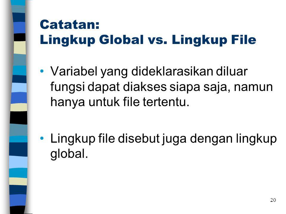Catatan: Lingkup Global vs. Lingkup File •Variabel yang dideklarasikan diluar fungsi dapat diakses siapa saja, namun hanya untuk file tertentu. •Lingk