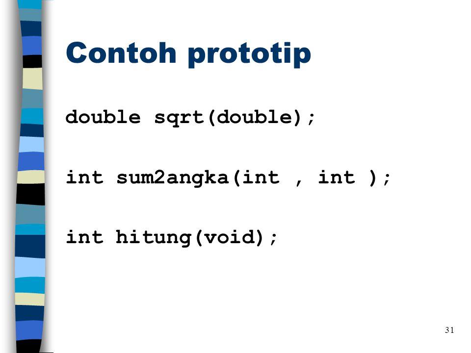 Contoh prototip double sqrt(double); int sum2angka(int, int ); int hitung(void); 31