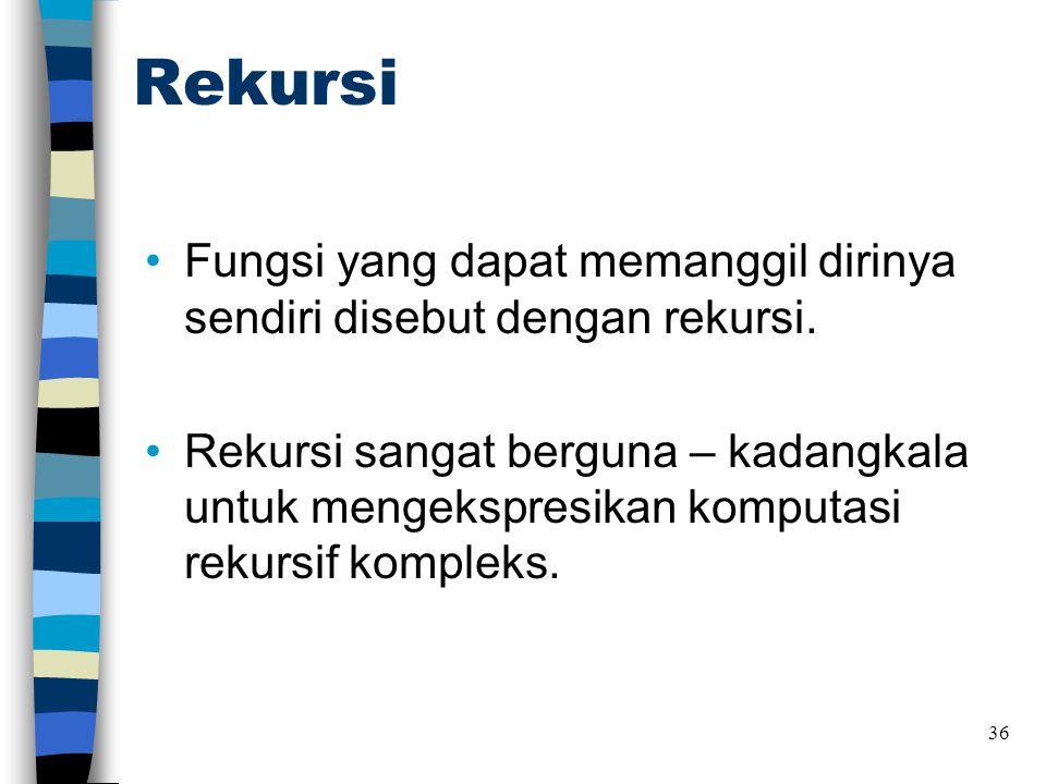Rekursi •Fungsi yang dapat memanggil dirinya sendiri disebut dengan rekursi.