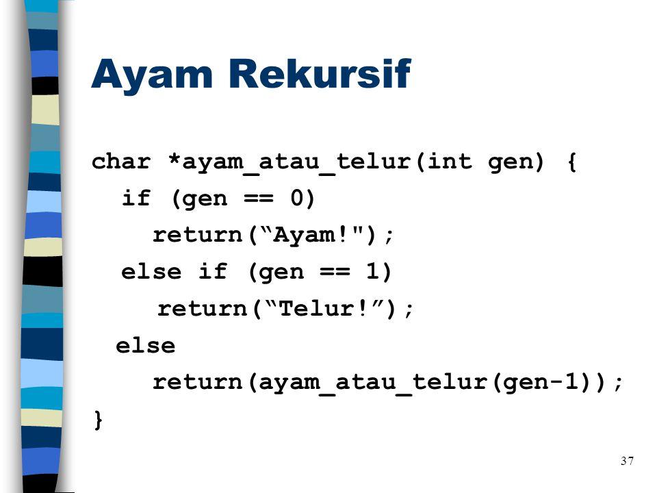 Ayam Rekursif char *ayam_atau_telur(int gen) { if (gen == 0) return( Ayam! ); else if (gen == 1) return( Telur! ); else return(ayam_atau_telur(gen-1)); } 37