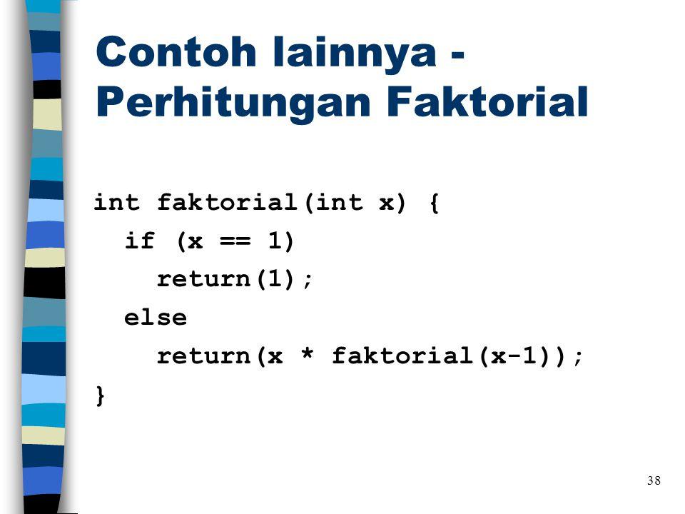 Contoh lainnya - Perhitungan Faktorial int faktorial(int x) { if (x == 1) return(1); else return(x * faktorial(x-1)); } 38