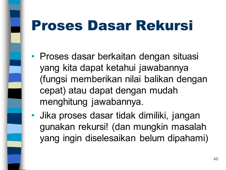 Proses Dasar Rekursi •Proses dasar berkaitan dengan situasi yang kita dapat ketahui jawabannya (fungsi memberikan nilai balikan dengan cepat) atau dap