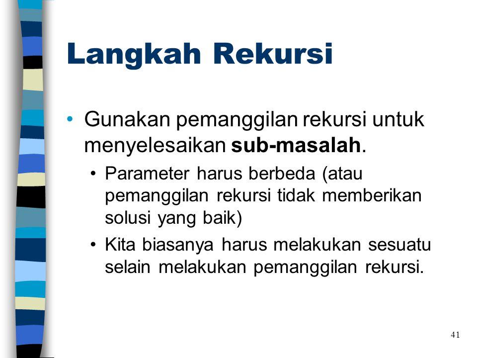 Langkah Rekursi •Gunakan pemanggilan rekursi untuk menyelesaikan sub-masalah. •Parameter harus berbeda (atau pemanggilan rekursi tidak memberikan solu