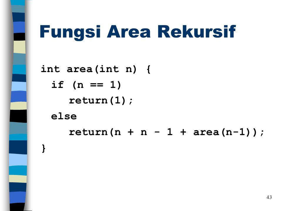 Fungsi Area Rekursif int area(int n) { if (n == 1) return(1); else return(n + n - 1 + area(n-1)); } 43