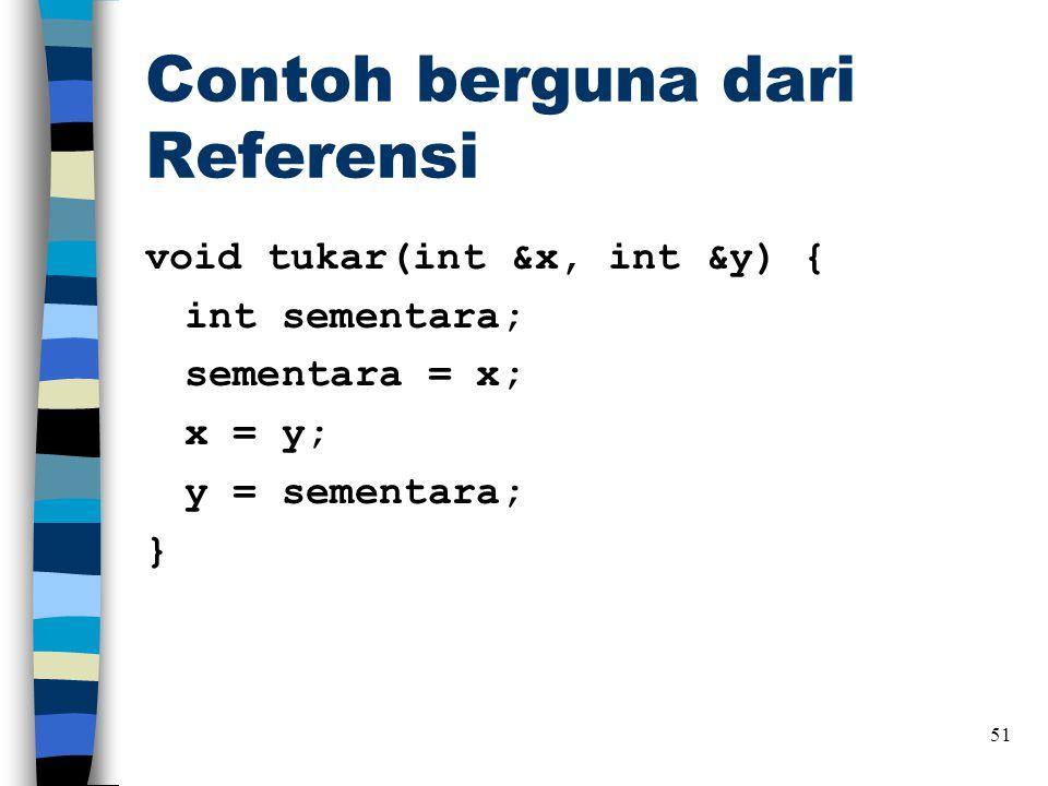 Contoh berguna dari Referensi void tukar(int &x, int &y) { int sementara; sementara = x; x = y; y = sementara; } 51