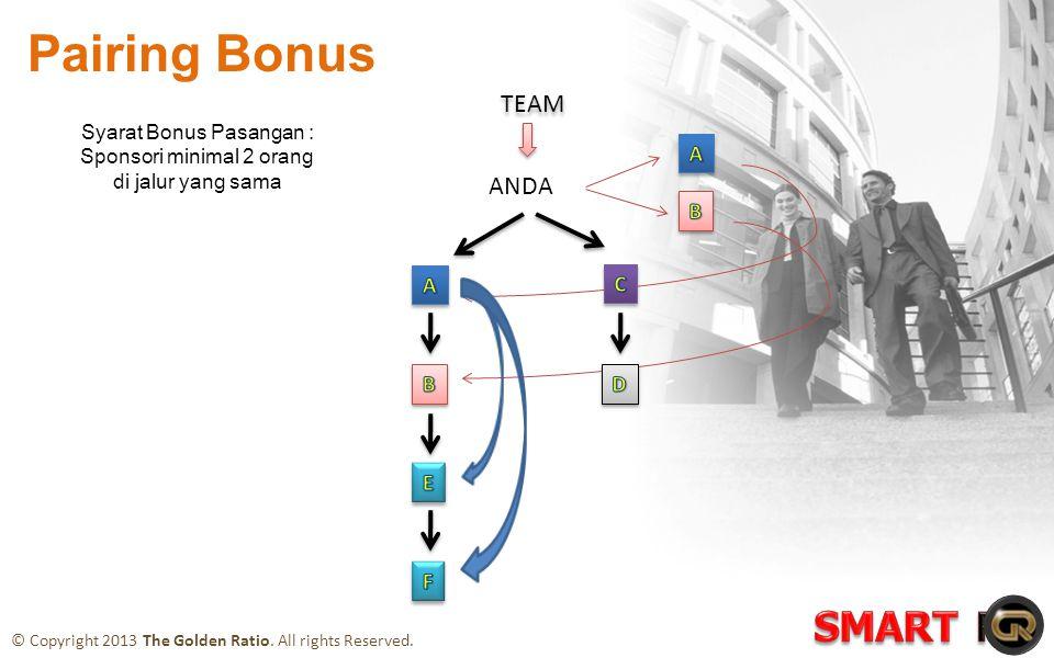 ANDA TEAM Syarat Bonus Pasangan : Sponsori minimal 2 orang di jalur yang sama Pairing Bonus © Copyright 2013 The Golden Ratio.