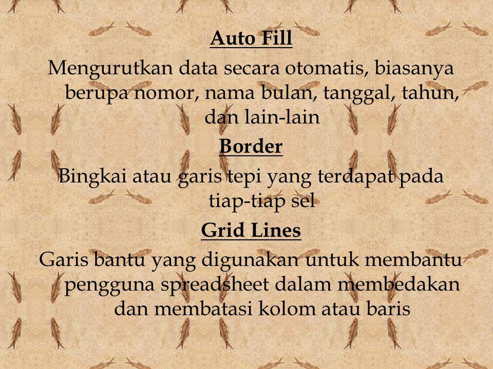 Auto Fill Mengurutkan data secara otomatis, biasanya berupa nomor, nama bulan, tanggal, tahun, dan lain-lain Border Bingkai atau garis tepi yang terda