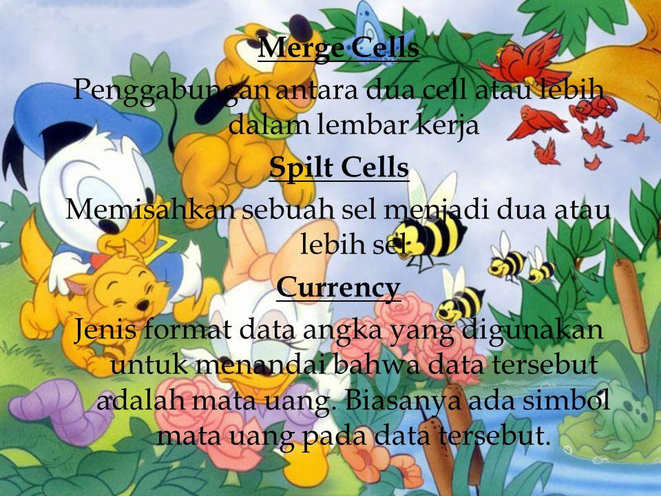Merge Cells Penggabungan antara dua cell atau lebih dalam lembar kerja Spilt Cells Memisahkan sebuah sel menjadi dua atau lebih sel Currency Jenis for