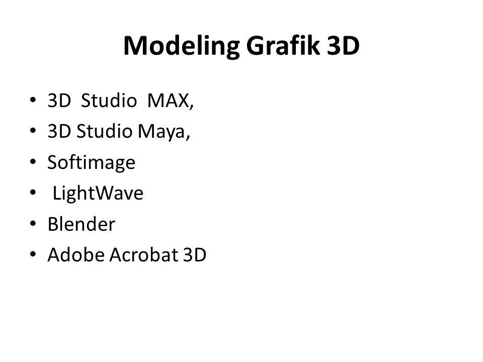 Modeling Grafik 3D • 3D Studio MAX, • 3D Studio Maya, • Softimage • LightWave • Blender • Adobe Acrobat 3D