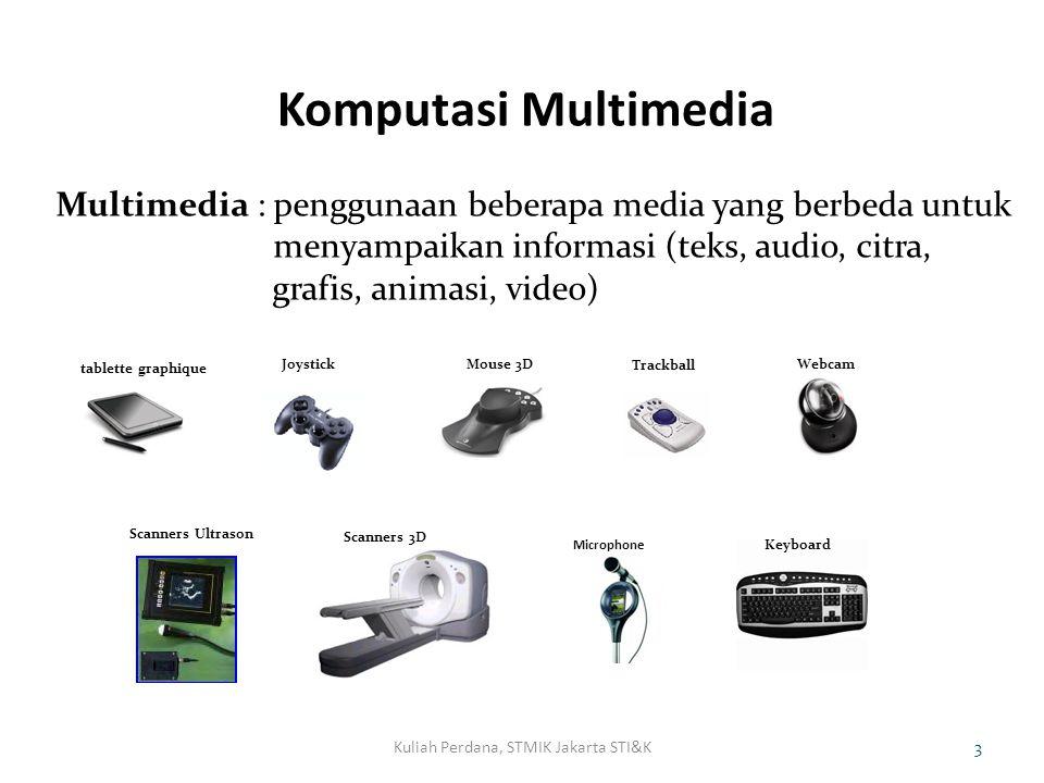 Komputasi Multimedia Kuliah Perdana, STMIK Jakarta STI&K4 Komputasi Multimedia : Pemrosesan secara matematis Informasi multimedia seperti pengolahan citra/ grafis 2D dan 3D, Video, animasi, game, musik, TV interaktif dsb.