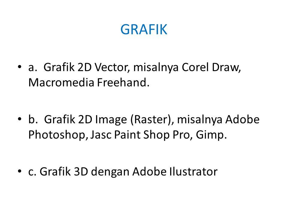 GRAFIK • a. Grafik 2D Vector, misalnya Corel Draw, Macromedia Freehand.