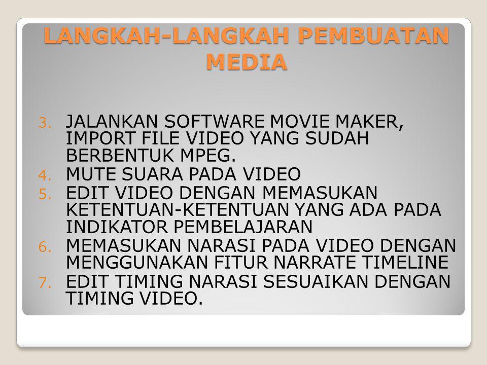 LANGKAH-LANGKAH PEMBUATAN MEDIA 3. JALANKAN SOFTWARE MOVIE MAKER, IMPORT FILE VIDEO YANG SUDAH BERBENTUK MPEG. 4. MUTE SUARA PADA VIDEO 5. EDIT VIDEO