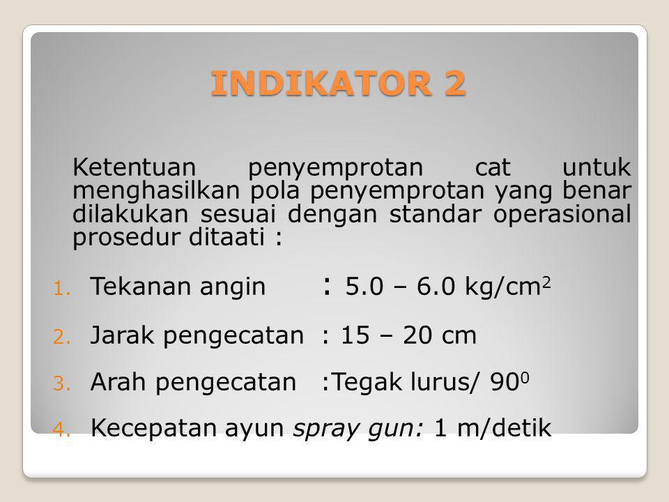 INDIKATOR 2 Ketentuan penyemprotan cat untuk menghasilkan pola penyemprotan yang benar dilakukan sesuai dengan standar operasional prosedur ditaati : 1.