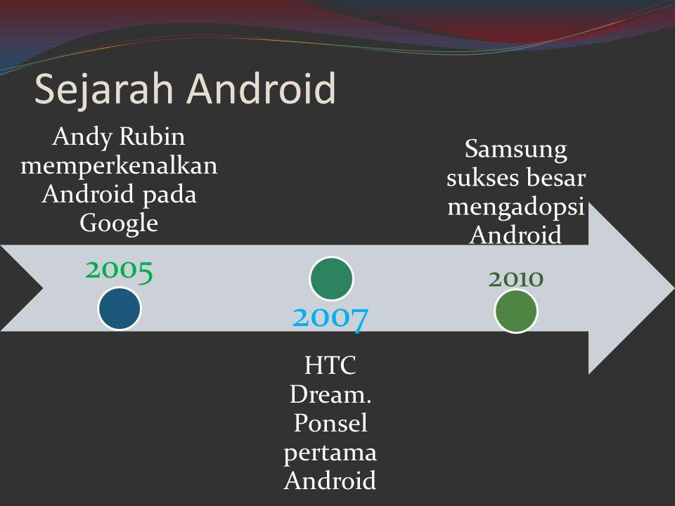 Sejarah Android Andy Rubin memperkenalkan Android pada Google 2005 2007 HTC Dream. Ponsel pertama Android Samsung sukses besar mengadopsi Android 2010