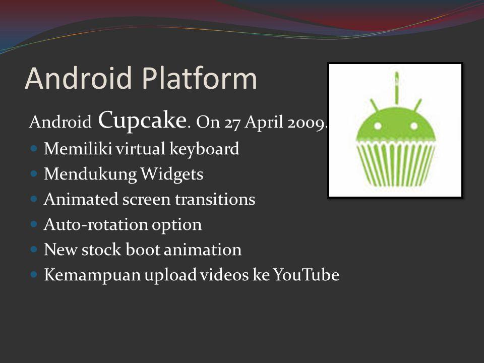 Android Platform Android Cupcake. On 27 April 2009.  Memiliki virtual keyboard  Mendukung Widgets  Animated screen transitions  Auto-rotation opti