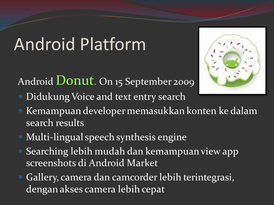 Android Platform Android Donut. On 15 September 2009  Didukung Voice and text entry search  Kemampuan developer memasukkan konten ke dalam search re