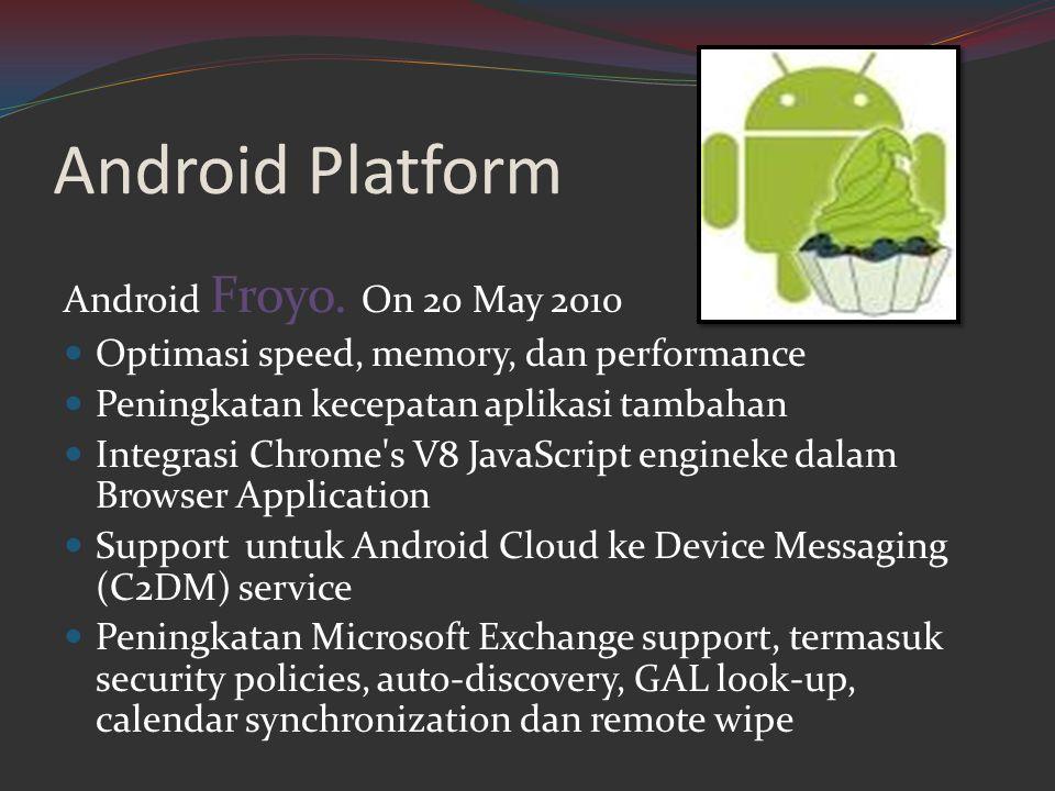 Android Platform Android Froyo. On 20 May 2010  Optimasi speed, memory, dan performance  Peningkatan kecepatan aplikasi tambahan  Integrasi Chrome'