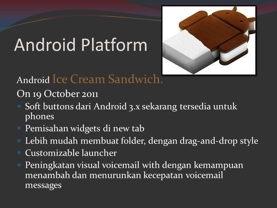 Android Platform Android Ice Cream Sandwich. On 19 October 2011  Soft buttons dari Android 3.x sekarang tersedia untuk phones  Pemisahan widgets di