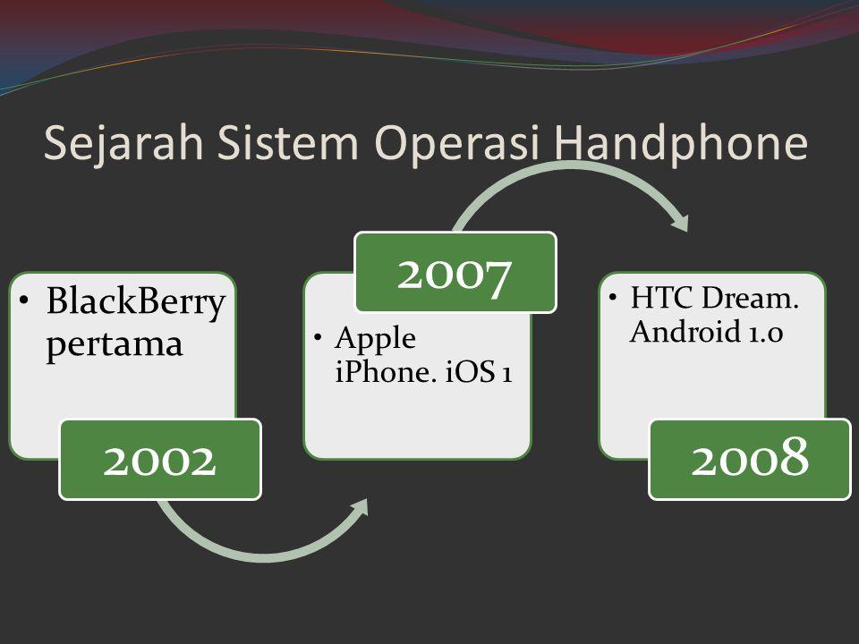Sejarah Sistem Operasi Handphone •BlackBerry pertama 2002 •Apple iPhone. iOS 1 2007 •HTC Dream. Android 1.0 2008