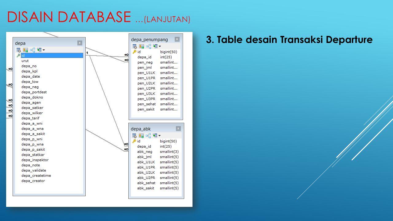 DISAIN DATABASE …(LANJUTAN) 3. Table desain Transaksi Departure