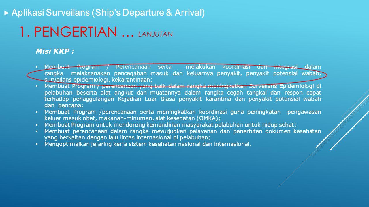 1. PENGERTIAN … LANJUTAN  Aplikasi Surveilans (Ship's Departure & Arrival) Misi KKP : • Membuat Program / Perencanaan serta melakukan koordinasi dan